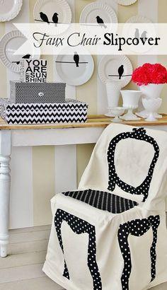 DIY Faux Chair Slipcover  via www.thistlewoodfarms.com