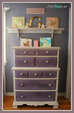 ART IS BEAUTY: New Orleans Purple Girls Dresser makeover. #Makeover time! Come see the Transformation of this beat up old dresser into something BEAUTIFUL perfect for my daughters room. http://arttisbeauty.blogspot.com/2014/03/new-orleans-purple-girls-dresser.html #hometalktuesday #furnituremakover #paintedfurniture #diy #paint #thinkspring #mommyiscoocoo
