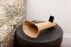 For the design-savvy audiophile: a stunning wooden acoustic iPhone amplifier.