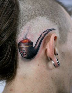 3D pipe with smoke tattoo on head