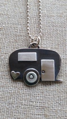 Happy Camper...sterling silver airstream trailer charm necklace pendant elisa daphne committed girls jewelry etsy artisan
