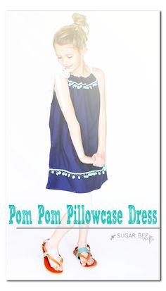 Easy DIY Pom Pom Pillowcase Dress - recycle
