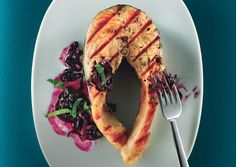 Grilled Salmon with Quick Blueberry Pan Sauce #Paleo, #Primal and #Gluten-free
