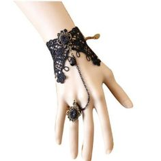 Vktech Retro Vintage Vampire Accessories Wedding Decorations Classic Royal Court Palace Gothic Style Punk Rock Women Lady Girls Lace Chain Wristband Bracelet With Finger Ring And Jewel Jewelry Halloween Decoratioins Present For Costume Ball Fancy Ball Masquerade - Black