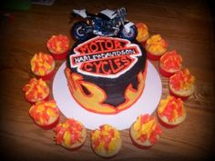 Image detail for -Harley Davidson Motorcycle Birthday Party Cupcake Cake Candle Pics ... birthday parties, party cupcakes, cupcake cakes, parti idea