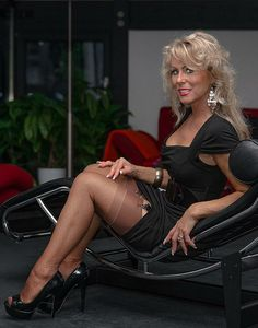 Sheer Stockings With Visible Stocking Tops Black Dress and Black High Heels