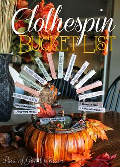 Bee of Good Cheer: Fall Clothespin Bucket List
