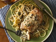 Creamy Chicken Piccata  - Make this classic Italian chicken piccata topped with Progresso™ Recipe Starters™ cooking sauce mixture; served with pasta – dinner ready in 30 minutes.