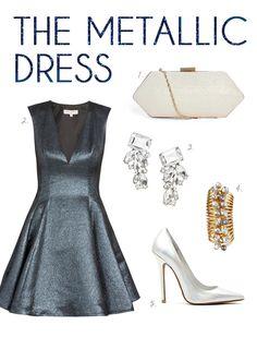 metallic dress + icy accessories // new years eve