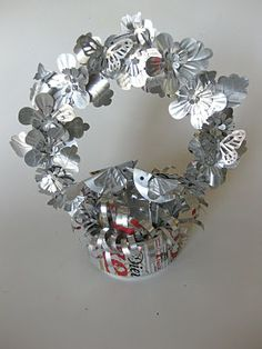 soda can art, metal, paper punch, wreath, tin cans, baskets, aluminum cans, crafti idea, soda can crafts