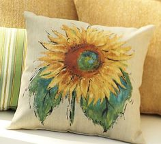 Painted Sunflower Outdoor Pillow #potterybarn