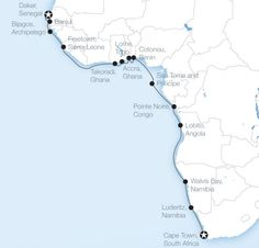 Map of our 27 day West Africa Cruise (CAPE TOWN TO DAKAR): Places visited include Benin, Cameroon, Gambia, Ghana, Namibia, Sao Tome and Principe, Senegal, Sierra Leone, South Africa, and Togo