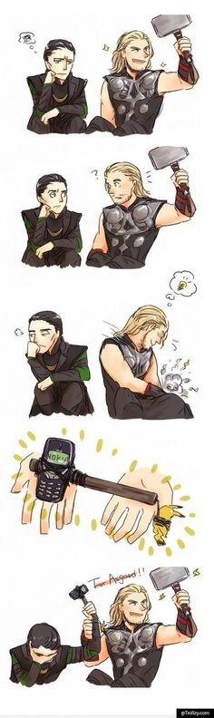 Thor and Loki geek, fan art, marvel, loki, funni, pikachu, aveng, thor, superhero