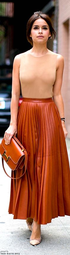Long skirt, bold colour, tight top
