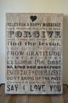 Wedding gift Rules for a Happy Marriage Art on by welovediys, ?150 ...