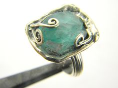 Blue raw apatite ring sterling silver rough by nikiforosnelly, $59.00
