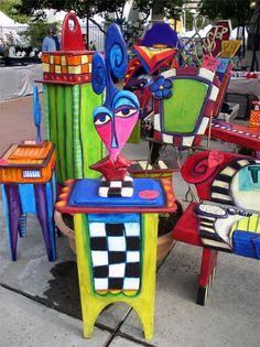 modern furniture, furniture arrangement, colorful furniture, diy furniture, antique furniture, painted chairs, funky painted furniture, funky furniture, funky art