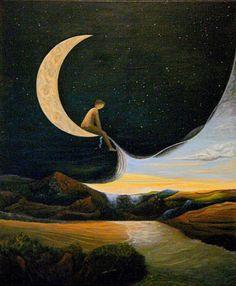A childhood in the moon. Une enfance dans la lune. By bmoraillon. Boy sitting on moon, pulling up the daylight