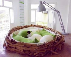 """""""This nest bed by Oge Architects is the perfect place to 'lay' your head for the night, or for 'hatching' new ideas, or lounging with your laptop"""""""