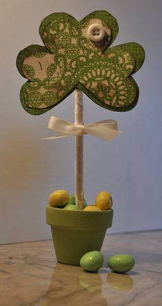 Shamrock flower pot for St. Patrick's Day