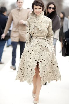 Miroslava Duma made a statement with this cutout floral trench. #streetstyle