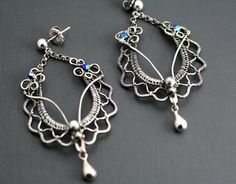 Ruffles and Lace Earrings - Weaved Fine Silver - Scolloped