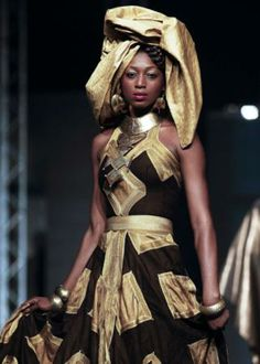 A model wears a creation by Senegalese designer Oumou Sy during the 10th anniversary of Dakar Fashion Week. Photo: Reuters