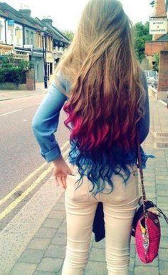 Multi-bright colored ombre hair