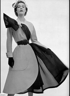 1951 - Sophie Malgat wearing fashion by Jacques Fath. Photo by Philippe Pottier.