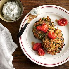 Zucchini-Farro Cakes with Herbed Goat Cheese and Slow-Roasted Tomatoes | CookingLight.com