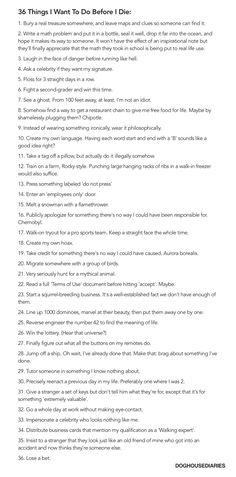 Wierd bucket list