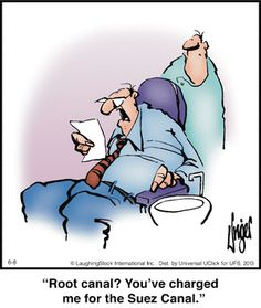 """☤ MD ☞☆☆☆ http://www.pinterest.com/mediamed/dental-cartoons/ Check our board for ☤ MD ☞☆☆☆ Dental Cartoons on MediaMed: http://www.pinterest.com/mediamed/dental-cartoons/ #humor [""""Herman"""" by Jim Unger ~ Dental Charges for Root Canal are the Cost of the Suez Canal.]"""