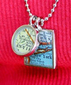 "cute ""map"" jewelry of a special vacation, or favorite location. shape map"