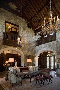 breathtaking living room in Tudor Style
