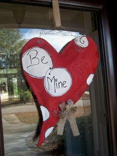 Burlap valentines day door sign