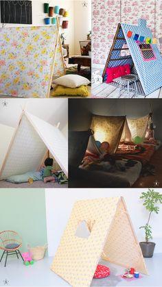1. Tente DIY de chez Cakies  // 2. Tente DIY chez Woonideeen   // 3. Tente DIY de chez Lovelist  // 4. Inspiration pour pyjama party chez thenearestfarawayplace.com  // 5. Pour les moins courageuse, la sublime tente de Caroline Gomez