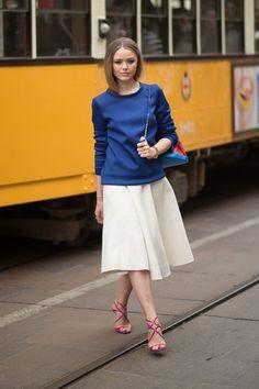 Sweatshirt top + skirt + strappy heels