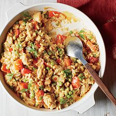 Spanish Chicken and Rice with Saffron Cream | CookingLight.com #myplate #protein #veggies