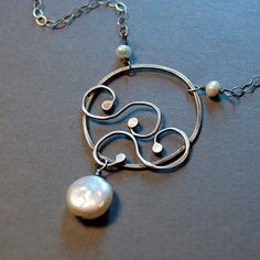 Hoop Hammered Swirly Necklace Sterling Silver by Laurel Peters
