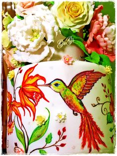 Hummingbird cake and flowers