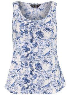 Blue China Bird Scoop Vest