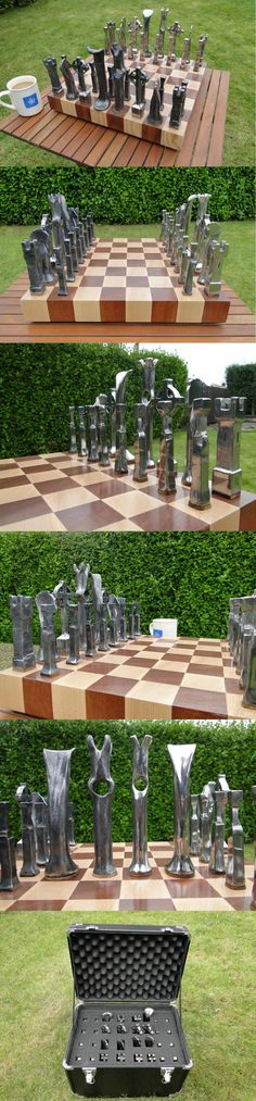 Hand forged steel chess set