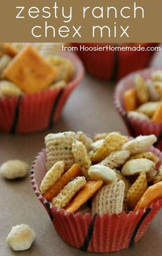 Zesty Ranch Chex Mix:can substitute crispix for chex variety and add pretzels instead of oyster crackers. also, 3 T veg oil instead of butter.