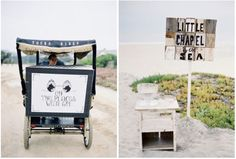 Guests were taken down to the beach by pedicab, where they happened upon a rustic wooden sign directing them to the beach ceremony site.