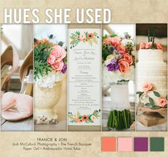 We're loving this girly color palette with an earthy twist in shades of coral, blush, green and purple. Photos by Josh McCullock Photography. #wedding #decor #pink #coral #blush #purple #green