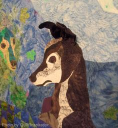 """Forever Friends""  by Jude Edling. 2013 Houston IQF, photo by Quilt Inspiration.  This greyhound has 3D ears"