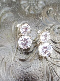 Vintage Earrings Silver Cubic Zircons Post Clutch by #BlancheB, $50.00 #jetteam #jewelryonetsy