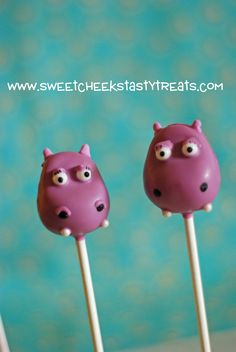 Sweet Cheeks Tasty Treats: Hippo Cake Pops - one I would buy as opposed to trying to make!