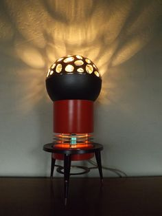 Red Mid Century Modern Atomic Style Lamp One of a by Illumetery, $250.00