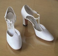 "1960s vintage white t-strap heels / mod 60s wedding shoes / size 7.5 narrow by AllerRetour, $26.00. Had a pair of these in ""bone"" when I was in Jr. High. Thought I was hot stuff."